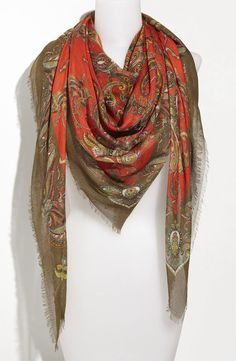 Green eyes- green in the print of the scarf. Warm red lipstick- warm red in the print of the scarf. Picture this with a white tee shirt and jeans. Brown Hair Green Eyes, Green Hair, White Tee Shirts, White Tees, Chiffon Scarf, Red Lipsticks, Shawls And Wraps, Paisley Print, Womens Scarves