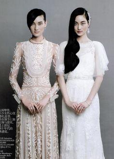 Jennifer Behr Wisteria Comb in Vogue China Brides :: bridal :: wedding :: dress :: updo :: hair