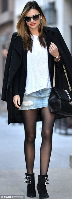 A spring in her step: The Australian wears a black coat, jacket, tights and boots that she's paired with a torn denim mini skirt to take in . Sheer Tights, Tights And Boots, Tights Outfit, Chic Outfits, Fashion Outfits, Miranda Kerr Style, Denim Mini Skirt, Jean Skirt, Jeans Rock