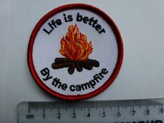 "Guide/Scout Fun Blanket Campfire Badge ""Life Is Better By The Campfire"" Girl Guides, Fundraising, Life Is Good, Good Things, Blanket, Badges, Community, Ebay, Girls"