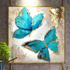 Butterfly Artwork, Butterfly Canvas, Butterfly Painting, Blue Butterfly, Butterfly Flowers, Butterfly Wings, Oil Painting On Canvas, Oil Paintings, Flower Paintings On Canvas