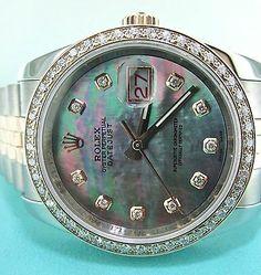 Rolex DateJust 18K Rose Gold Diamond & Stainless Steel Watch