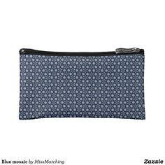 Blue ornate mosaic cosmetic bag