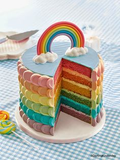 The rainbow cake never stops being fab! This recipe is from our Kids' Birthday Cakes book.  #cakes #rainbowcake #cake