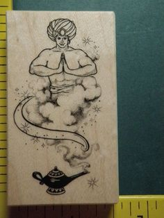PSX MAGIC WISH GENIE in LAMP FANTASY RARE Rubber Stamp