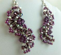 Amethyst Crystal Seed Bead Woven Sterling Earrings | dianesdangles - Jewelry on ArtFire
