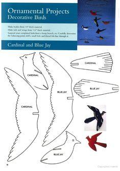 Birds for mobile Bird Paper Craft, Paper Crafts Origami, Paper Birds, Bird Crafts, Cardboard Crafts, Paper Flowers, Paper Art, 3d Zeichenstift, 3d Pen Stencils