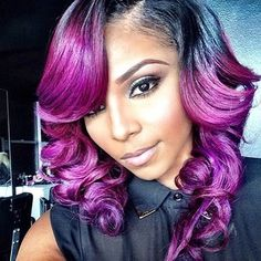 wholesale purple ombre wig ombre glueless full lace wigs side part with bangs two tone color purple human hair Weave Hairstyles, Pretty Hairstyles, Track Hairstyles, African Hairstyles, Hair Rainbow, Curly Hair Styles, Natural Hair Styles, Afro, Hair Laid