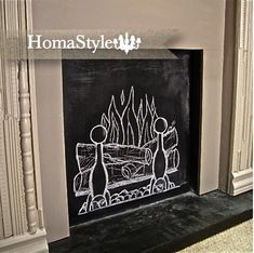 Have a fireplace that doesn't work? Paint the boarded up opening with chalk paint!