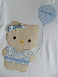 Kids fashion Kitten with balloon Applique Designs, Quilting Designs, Embroidery Designs, Applique Quilts, Embroidery Applique, Applique Tutorial, Patchwork Baby, Make Your Own Clothes, Sewing Appliques