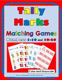 Tally Marks Colorful Matching Games (also comes in grayscale)