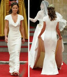 Pippa Middleton bridesmaid dress. Ivory Alexander McQueen