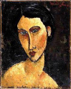 Amedeo Modigliani, (Livorno, 12 luglio 1884 - Parigi, 24 gennaio 1920)  Donna con occhi blu, olio su tela, 1917