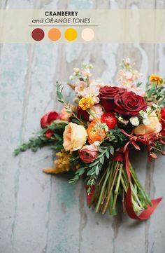 18 Fall Wedding Color Palettes - www.theperfectpalette.com - The Ultimate Wedding Color Resource    Beautiful fall colors for any Autumn Wedding! Make your own DIY wedding bouquets with gorgeous silk flowers from http://www.afloral.com/ #diywedding