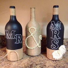 Using wine bottles and chalkboard paint.