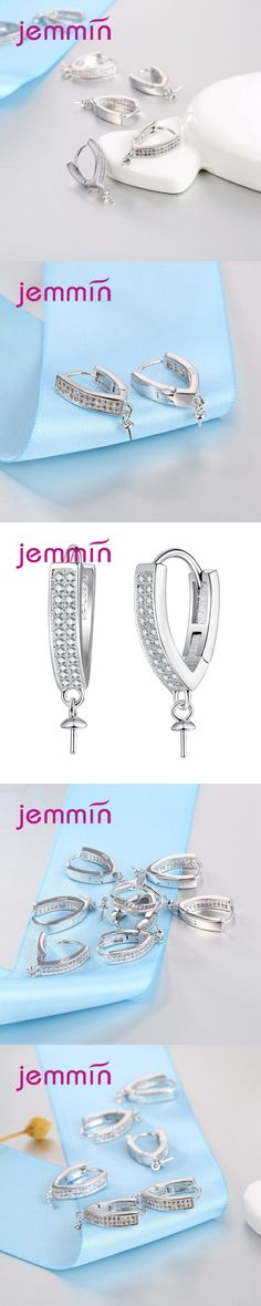 Jemmin High Quality 925 Sterling Silver Hook Earwires With Micro Rhistone Earrings Components DIY Jewelry Accessories