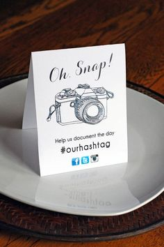 Free printable table tents for social media photo sharing: Fun for a party, shower, or neighborhood event.