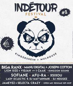 2ème édition du festival Indétour à Mulhouse (68) du 12 au 14 octobre 2017 avec Biga*Ranx, Manu Digital, Sofiane, Afu-Ra, .. #affiche #poster #graphic #panda #musique