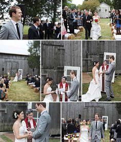"""outdoor wedding ceremony w/ """"hay-seats"""""""