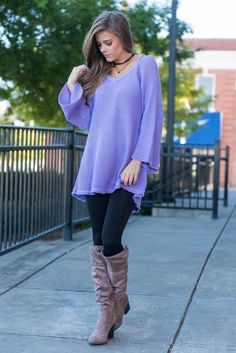 """Love Is Free Tunic, Lavender"" The love you feel for this tunic is totally free! Which is good considering how much you will actually love it! It's waffle like fabric is wonderfully soft and warm! #newarrivals #shopthemint"