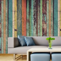 Papel de parede adesivo madeira colorful - StickDecor | Decoração Criativa