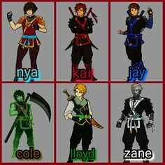 Ninjago nya and kai and jay and cole and lloyd and zane