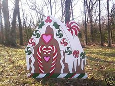 I need someone to cut this shape for me out of particle board!! I could paint this myself! GINGERBREAD HOUSE ~ 1 pc. Christmas Yard Art Decoration on eBay!