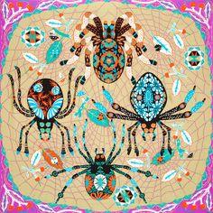Large golden spider silk scarf by Klaush