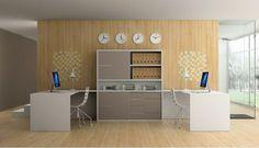 Estudio con muebles multiusos combinables junto con una estantería central con tiradores Metric. Convertibles DEM en Mobles Urgell.
