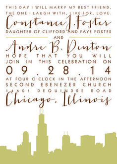 Love In The City design from The Plume Collection ready-to-order wedding/event invitations.