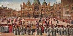 BELLINI, Gentile Procession in Piazza San Marco 1496 Tempera and oil on canvas, 367 x 745 cm Gallerie dell'Accademia, Venice