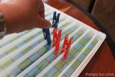 Clothes Pin Games occupational therapy site. Therapyfunzone.com click on OT, fine motor skills, handwriting