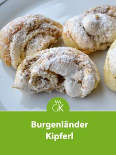Burgenland Kipferl- Burgenländer Kipferl Delicious Burgenländer Kipferl come from Grandma's recipe book and literally melt on the tongue. The recipe for baking fans! Delicious Cake Recipes, Easy Cookie Recipes, Yummy Cakes, Baking Recipes, Cheesecake Speculoos, Sports Themed Cakes, Austrian Recipes, Nutella, Food Menu