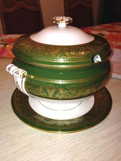 Wedgwood Florentine Dark Green Gold W4170 Soup Tureen, Lid and Underplate-MINT