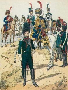 Cannoniere dell'artiglieria a cavallo, ufficiale e conduttori del treno di artiglieria, ufficiale di artiglieria e fucilieri di un rgt. di artiglieria del regno d'Italia