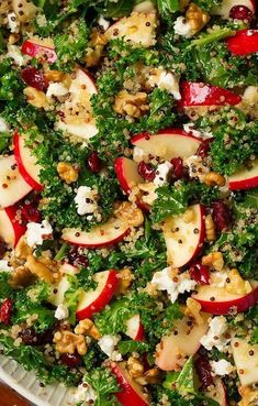 Kale Apple and Quinoa Salad (Cooking Classy) - -Autumn Kale Apple and Quinoa Salad (Cooking Classy) - - Spiral tart. 35 Easy Thanksgiving Salad Recipes - Best Side Salads for Thanksgiving Dinner Herbst-Grünkohl-Apfel-Quinoa-Salat Salade Kale Quinoa, Kale Apple Salad, Kale Salads, Cranberry Salad, Quinoa Salad Recipes, Healthy Recipes, Healthy Food, Eating Healthy, Al Dente