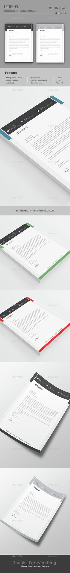 Letterhead template is simple yet elegant. This #professionalLetterhead template design is suitable most of the corporate entities that love to be clean.  Download http://graphicriver.net/item/letterhead/15356187?ref=themedevisers