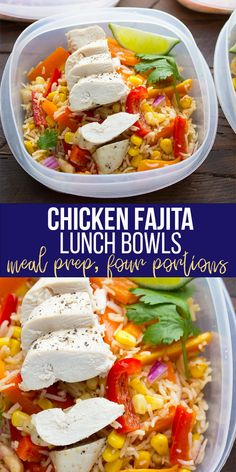 Make these chicken fajita lunch bowls for healthy lunches through the week! Inspired by a Mexican bean salad, this recipe combines bell peppers, baked chicken breast and rice with a delicious fajita-vinaigrette. #mealprep #mealpreplunch #lunchmealplan #lunchbowl #fajitabowl #healthyfajitas #sweetpeasandsaffron Lunch Meal Prep, Meal Prep Bowls, Chicken Meal Prep, Chicken Recipes, Healthy Fajitas, Mexican Bean Salad, Fajita Bowls, Baked Chicken Breast, Healthy Lunches