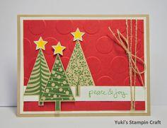 スタンピンアップ フェスティバル・オブ・ツリー スタンプセットと ラージポルカドットでクリスマスカード! Christmas Card using Festival of Tree stamp set and Large Polka Dot embossing folder, Stampin' Up