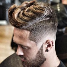 High Thick Quiff with Fade and Beard