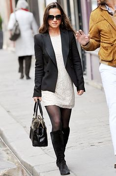 #PippaMiddleton strolled the streets of Paris in a white lace H dress topped off with a black blazer, knee-high suede boots, and a top handle Modalu bag. http://news.instyle.com/photo-gallery/?postgallery=55120#1