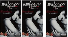Manforce Wild 3-in-ONE Ribbed Contour Dotted | Strawberry flavored Condom (3Set) #Manforce