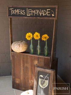 Chalkboard Lemonade Stand -<br /> Including chalkboard & baskets: $370, Antique Bottles: $15 each