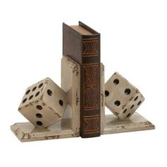 c7189c9ebd4d Pair of Vintage Reflections rustic wood-style mdf tumbling dice bookends,  distressed and chipped off-white paint over walnut-finish mdf L-shape  bookends, ...