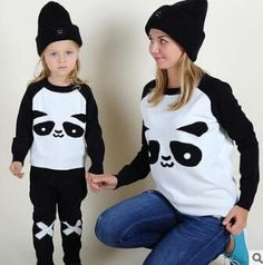 cfe6a0d01 Campure New 2016 Spring Autumn Family Matching Outfits Cartoon Panda Brand  Women Sweaters Kids Sweaters 1