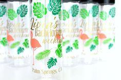 5-9 Bachelorette Water Bottles Palm Leaves Pink Flamingos