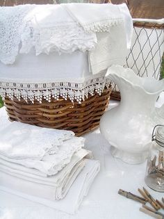 antique linens in the bathroom or powder room + luxury + white + neutral + cottage + shabby + beachy + french Vibeke Design, Estilo Shabby Chic, Linens And Lace, White Linens, White Cottage, French Cottage, French Country, Rustic French, Rustic White