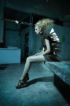 Femme Villain by Johnny Lopera. Beautiful feather dress!