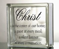 Christ Center of Home Glass Block Decal Tile by VinylDecorBoutique