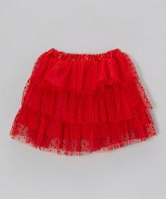 Love this Red Polka Dot Tulle Tiered Skort - Girls on #zulily! #zulilyfinds